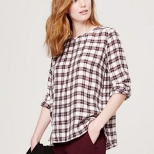 2/$20 LOFT The Softened Shirt Plaid Popover Size M